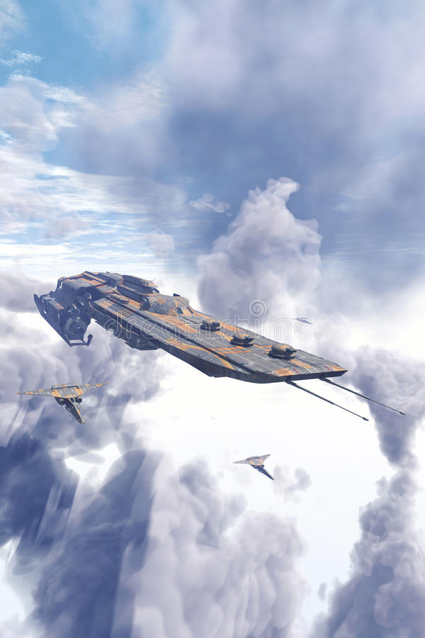 Ταχύπλοο σκάφος και μαχητές διαστημοπλοίων πέρα από τα σύννεφα απεικόνιση αποθεμάτων
