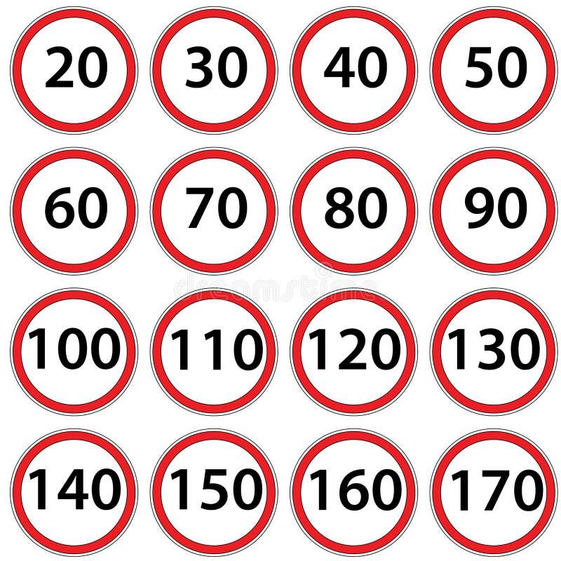 Ταχύτητα απαγόρευσης οδικών σημαδιών ράστερ διανυσματική απεικόνιση