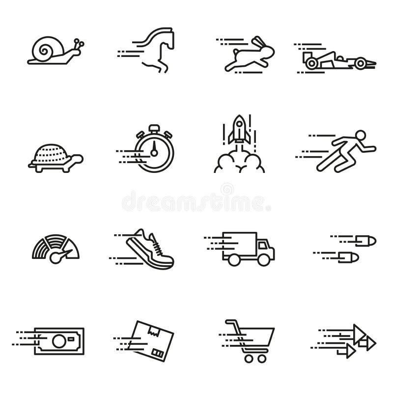 Ταχύτητα, γρήγορα κινούμενη συλλογή εικονιδίων διανυσματική απεικόνιση