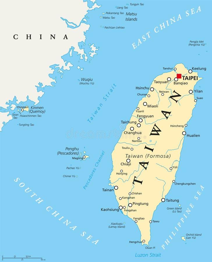 Ταϊβάν, Δημοκρατία της Κίνας, πολιτικός χάρτης διανυσματική απεικόνιση