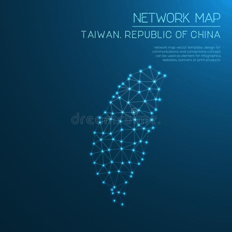 Ταϊβάν, Δημοκρατία του χάρτη δικτύων της Κίνας στοκ φωτογραφία με δικαίωμα ελεύθερης χρήσης
