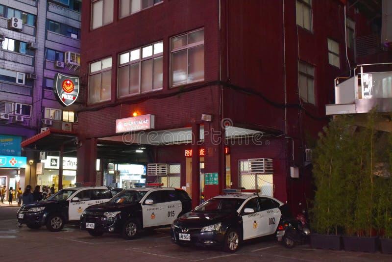 Ταϊβανικό αστυνομικό τμήμα στην οδό στην αγορά Ximending στη νύχτα στοκ εικόνες