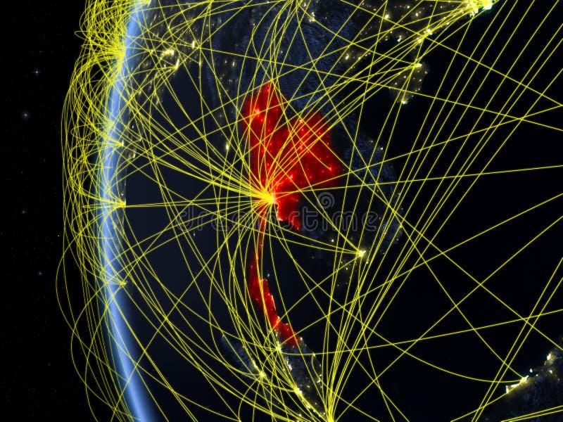 Ταϊλάνδη από το διάστημα με το δίκτυο στοκ φωτογραφία
