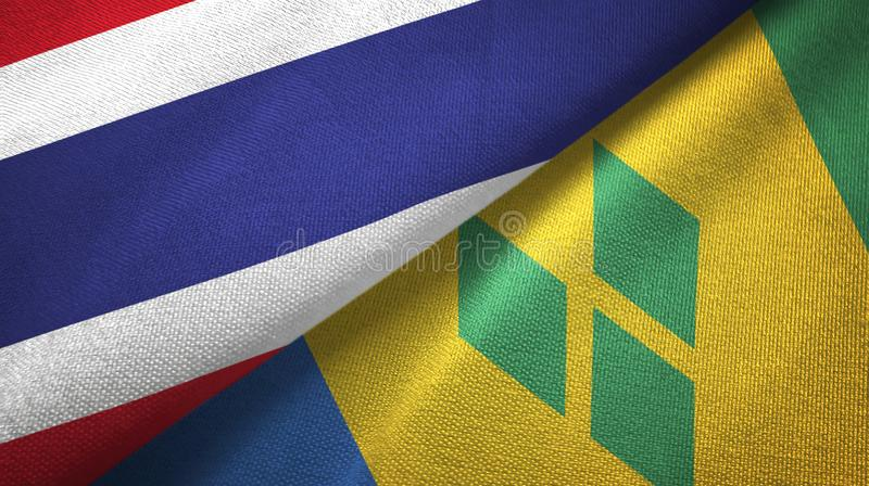 Ταϊλάνδη και Άγιος Βικέντιος και Γρεναδίνες δύο υφαντικό ύφασμα σημαιών απεικόνιση αποθεμάτων