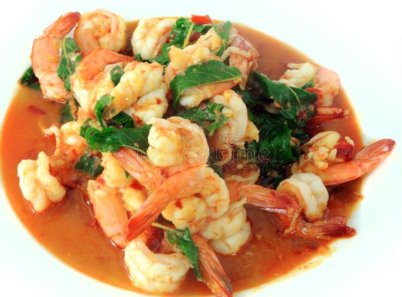 Ταϊλανδικά τρόφιμα, γαρίδες, με το πιπέρι τσίλι στοκ φωτογραφία