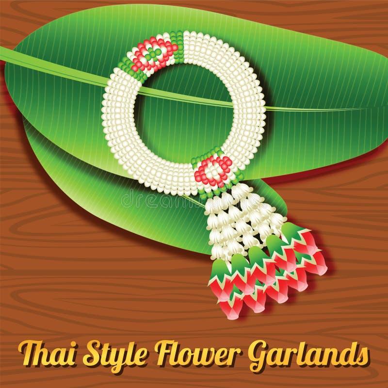 Ταϊλανδική γιρλάντα λουλουδιών ύφους, μια ένδειξη αντικειμένου σεβασμού στο παλαιότερο π διανυσματική απεικόνιση