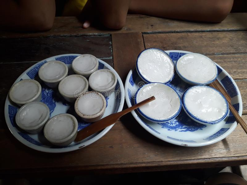 Ταϊλανδική κρέμα γάλακτος καρύδων - Khanom Thuai στοκ εικόνες