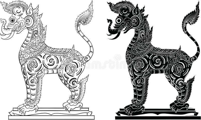 Ταϊλανδική παραδοσιακή ζωγραφική, δερματοστιξία διανυσματική απεικόνιση
