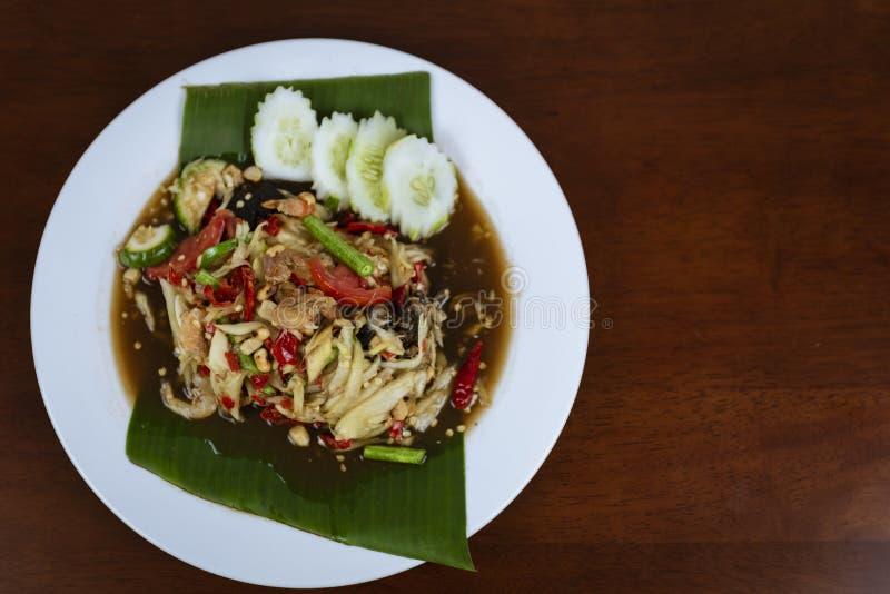 Ταϊλανδική πράσινη Papaya σαλάτα, ταϊλανδικός πικάντικος SOM tum στοκ φωτογραφίες με δικαίωμα ελεύθερης χρήσης