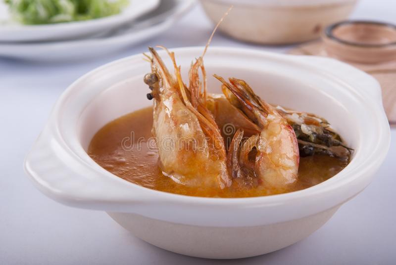 Ταϊλανδική σάλτσα με τις μεγάλες γαρίδες στοκ φωτογραφία με δικαίωμα ελεύθερης χρήσης