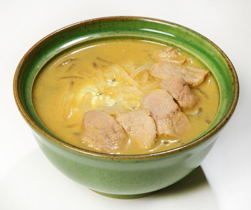 Ταϊλανδική σούπα με τη λωρίδα παπιών παπιών, harusame νουντλς, ανανάς, γάλα καρύδων, κάρρυ, ασβέστης στοκ εικόνα με δικαίωμα ελεύθερης χρήσης