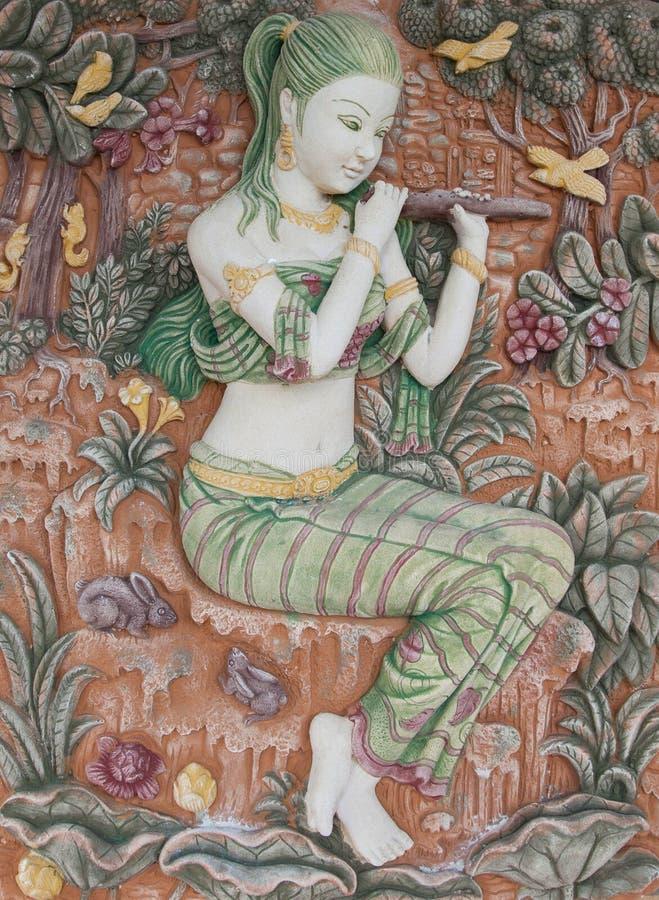 Ταϊλανδική τέχνη στον τοίχο στοκ εικόνες