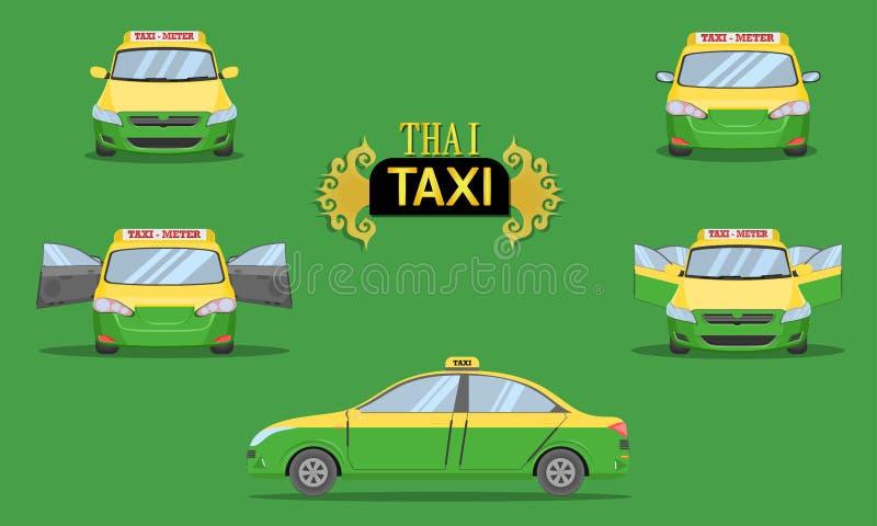 Ταϊλανδική ταξί ΚΑΠ κιτρινοπράσινη διανυσματική απεικόνιση eps10 τύπων οχημάτων επιβατών υπηρεσιών μεταφορών πλάγιας όψης αυτοκιν διανυσματική απεικόνιση