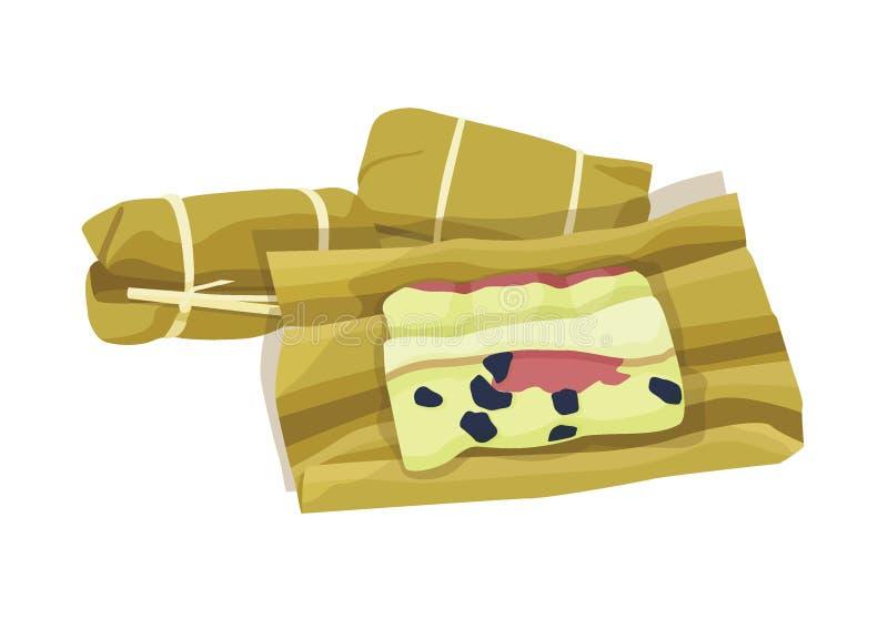 Ταϊλανδική τυλιγμένη δέσμη μπανάνα κέικ ρυζιού επιδορπίων ελεύθερη απεικόνιση δικαιώματος