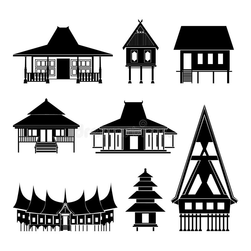 Ταϊλανδικό διάνυσμα οικοδόμησης ιστορίας περίπτερων αρχιτεκτονικής απεικόνιση αποθεμάτων