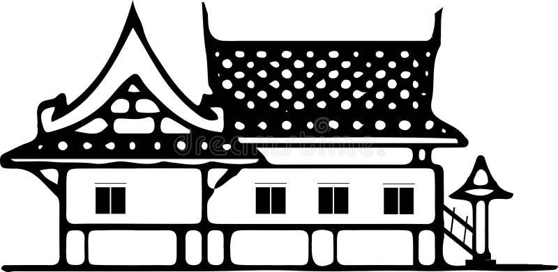 Ταϊλανδικό εικονίδιο αρχιτεκτονικής στο άσπρο υπόβαθρο απεικόνιση αποθεμάτων