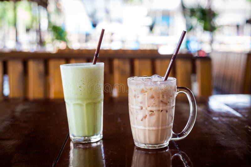 Ταϊλανδικό και πράσινο τσάι πάγου στοκ εικόνες