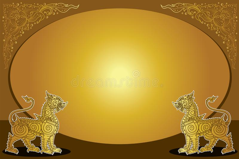 Ταϊλανδικό λιοντάρι ( Singha)  παραδοσιακό ή αρχαίο σχέδιο διανυσματική απεικόνιση
