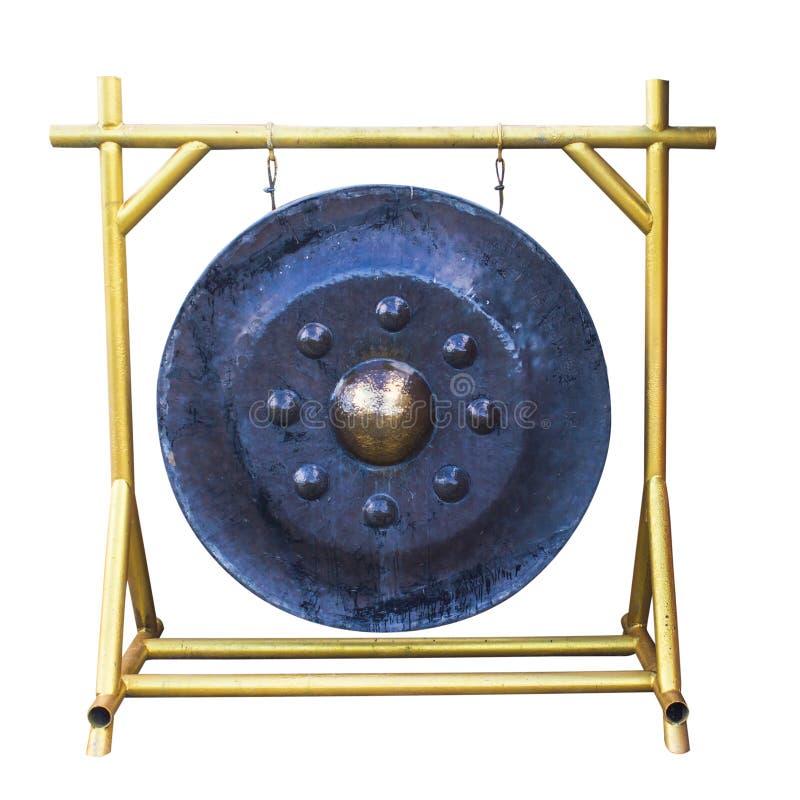 Ταϊλανδικό παραδοσιακό παλαιό μαύρο μέταλλο gong Isol τυμπάνων χάλυβα μετάλλων στοκ φωτογραφία με δικαίωμα ελεύθερης χρήσης