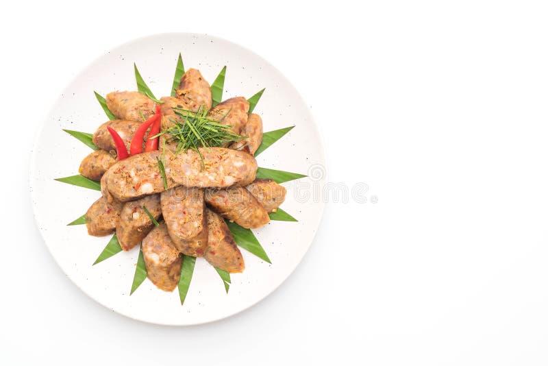 Ταϊλανδικό πικάντικο λουκάνικο Notrhern στο άσπρο υπόβαθρο στοκ φωτογραφίες