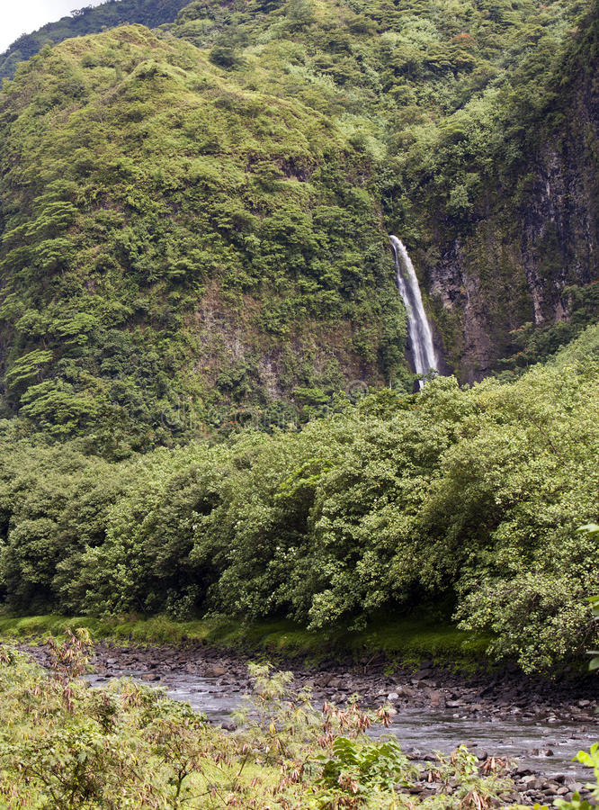 Ταϊτή Ποταμός και πτώση βουνών στοκ φωτογραφία με δικαίωμα ελεύθερης χρήσης