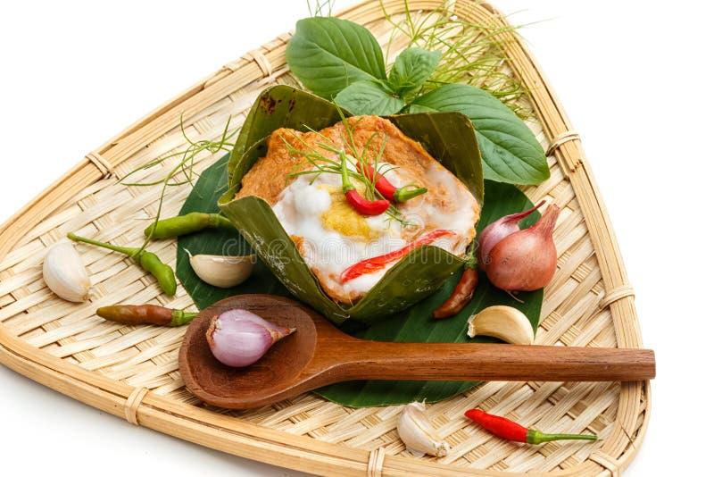 Ταϊλανδικά τρόφιμα, θαλασσινά ατμού με την κόλλα κάρρυ στοκ εικόνες με δικαίωμα ελεύθερης χρήσης