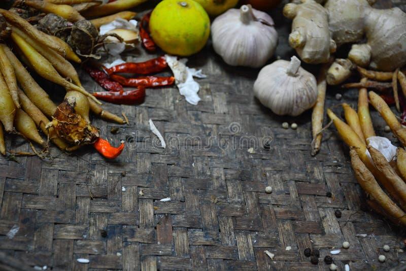 Ταϊλανδικά τρόφιμα συστατικών στο υπόβαθρο 2 ύφανσης στοκ φωτογραφία με δικαίωμα ελεύθερης χρήσης