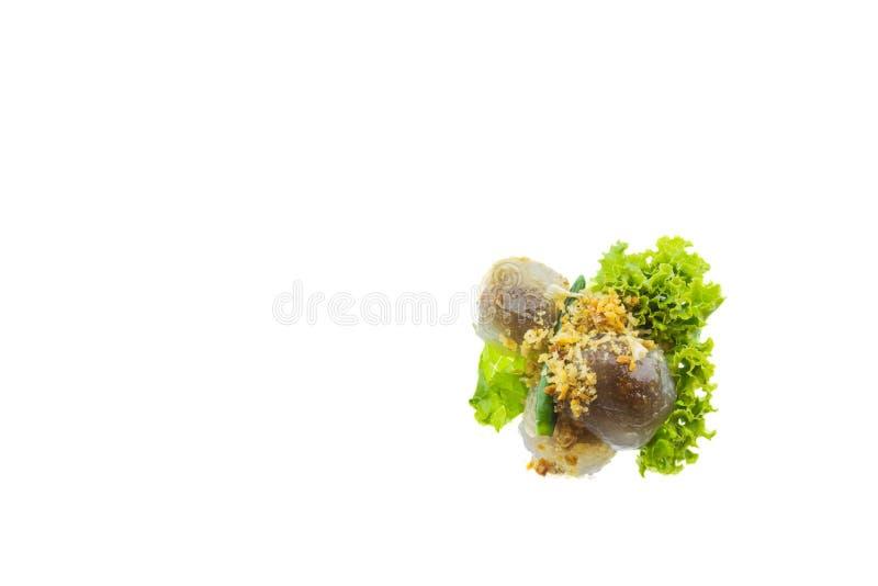 Ταϊλανδικά τρόφιμα, χοιρινό κρέας ταπιόκας & x28 Saku Sai Moo& x29  απομονωμένος στο άσπρο backgr στοκ φωτογραφία με δικαίωμα ελεύθερης χρήσης