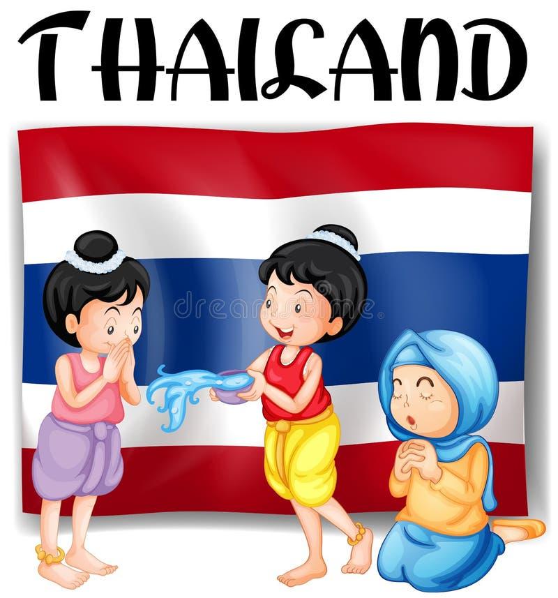 Ταϊλανδικά φεστιβάλ και σημαία ελεύθερη απεικόνιση δικαιώματος