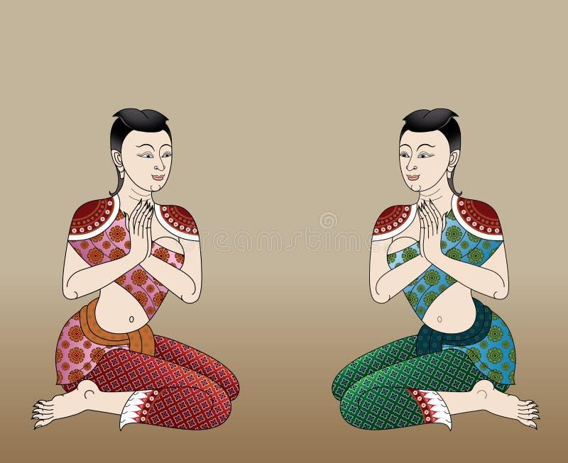 Ταϊλανδικές αρχαίες γυναίκες απεικόνιση αποθεμάτων
