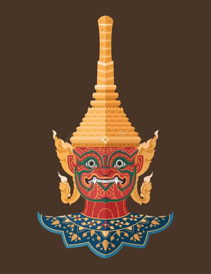 Ταϊλανδική γιγαντιαία, ταϊλανδική τέχνη φυλάκων διανυσματική απεικόνιση