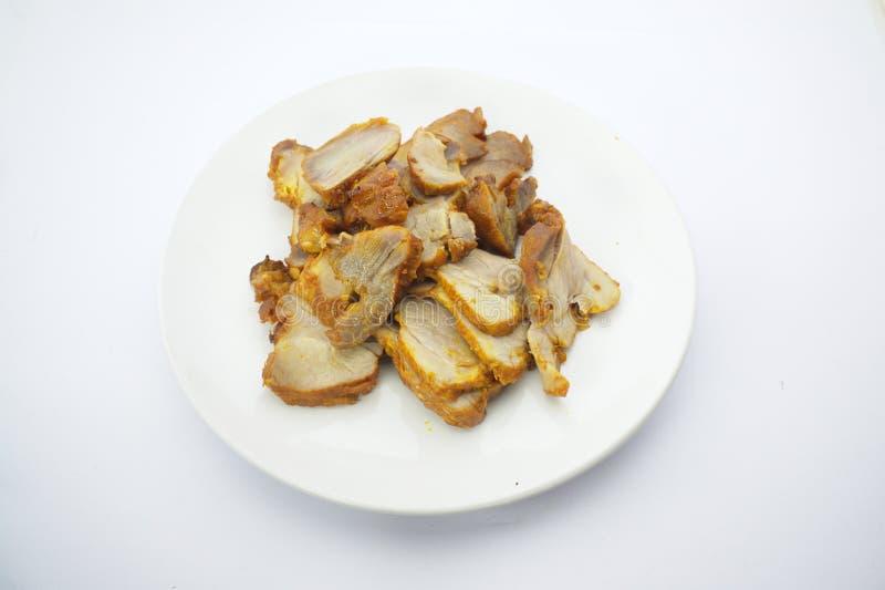 Ταϊλανδική κουζίνα, ψημένο κόκκινο χοιρινό κρέας στοκ εικόνα