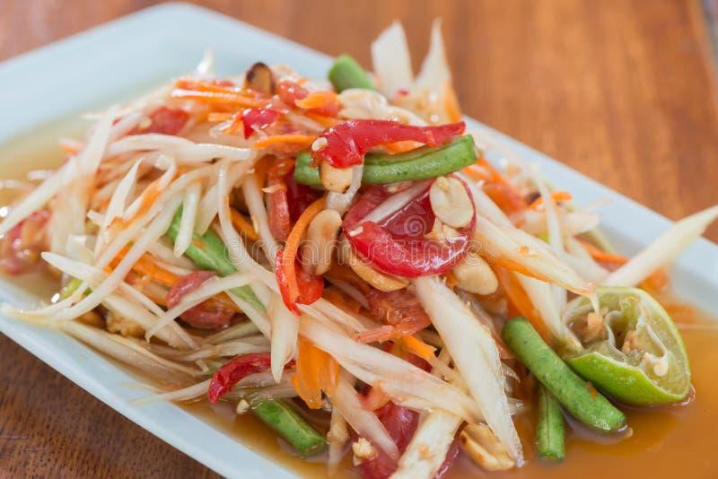 Ταϊλανδική πικάντικη Papaya σαλάτα στοκ φωτογραφίες
