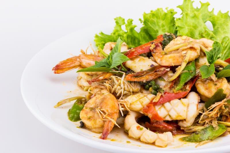 Ταϊλανδική σαλάτα θαλασσινών πικάντικη στοκ εικόνες