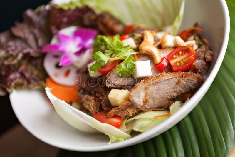 Ταϊλανδική σαλάτα με την τριζάτη πάπια στοκ φωτογραφίες με δικαίωμα ελεύθερης χρήσης