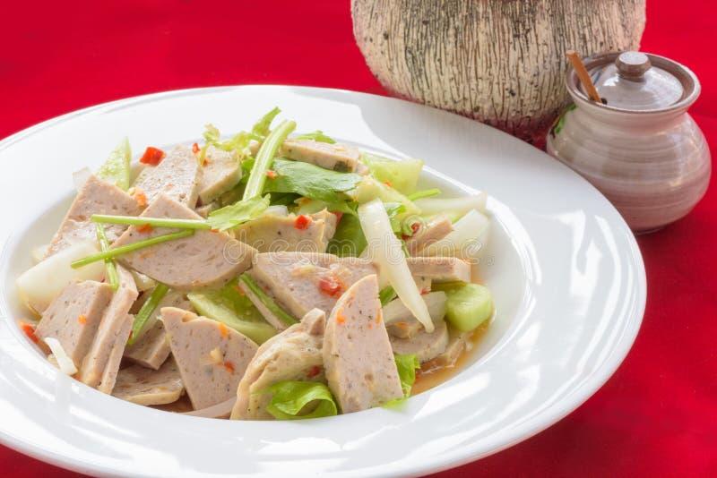 Ταϊλανδική σαλάτα χοιρινού κρέατος κουζίνας πικάντικη στοκ φωτογραφίες με δικαίωμα ελεύθερης χρήσης