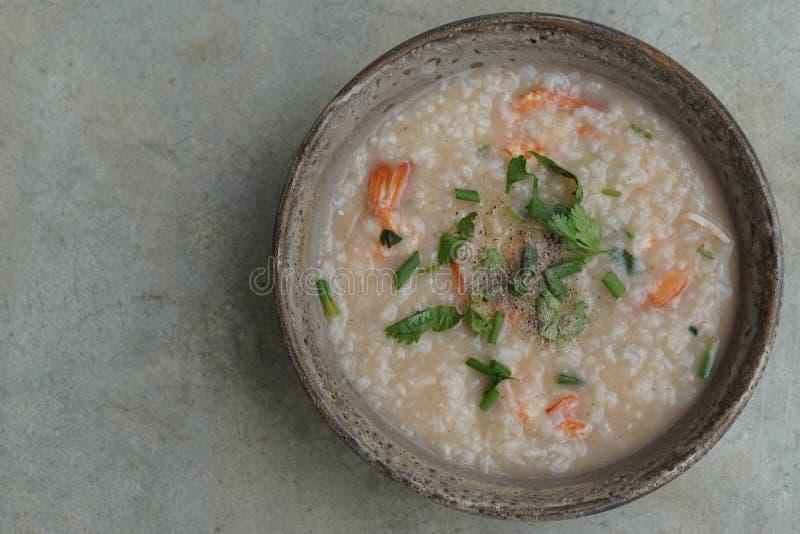 Ταϊλανδική σούπα ρυζιού με τις γαρίδες (Khao Tom Goong) 1 στοκ φωτογραφία με δικαίωμα ελεύθερης χρήσης