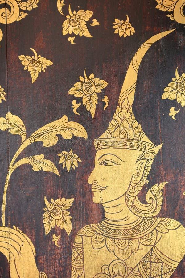Ταϊλανδική mural ζωγραφική στην πύλη Wat Pong Sanuk Nua, Lampang, ταϊλανδικά στοκ εικόνες