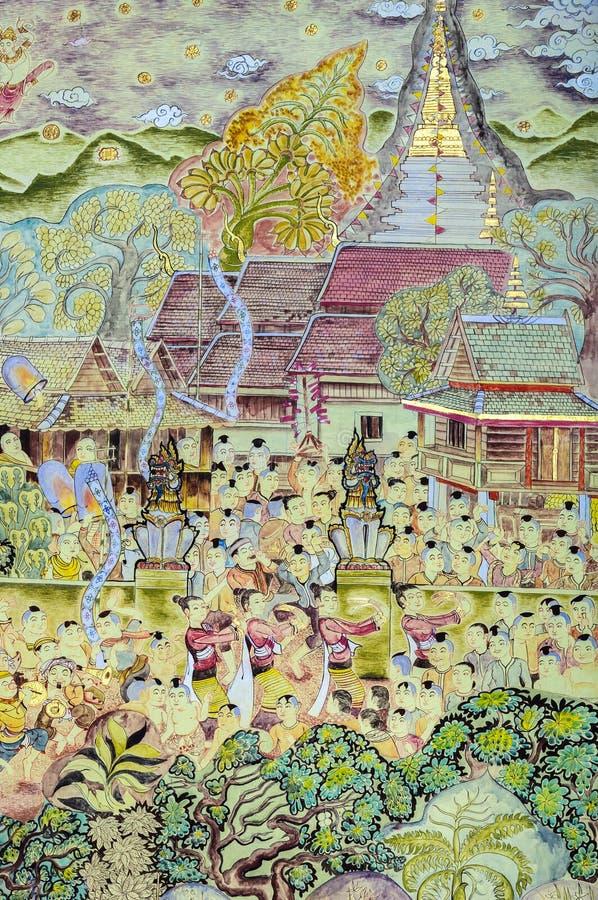 Ταϊλανδική mural τέχνη ζωγραφικής του βουδιστικού φεστιβάλ Lanna στοκ φωτογραφία με δικαίωμα ελεύθερης χρήσης