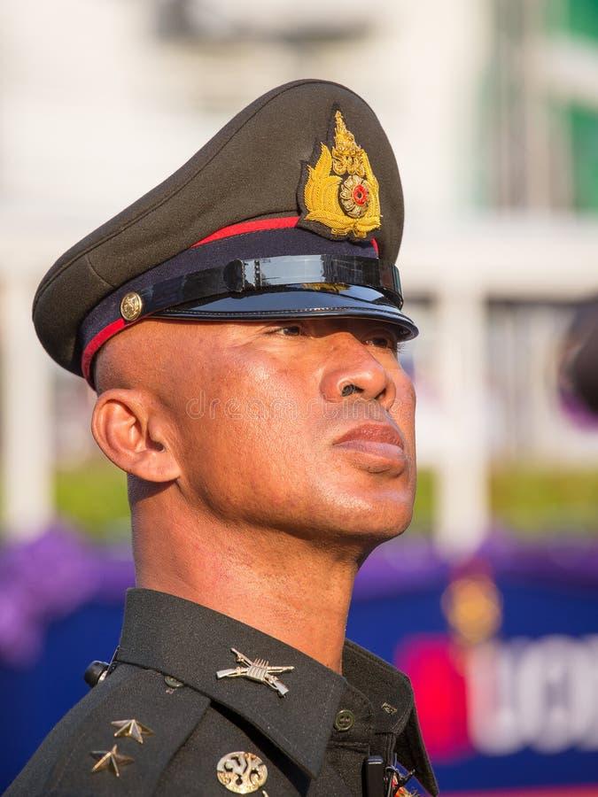Ταϊλανδικός αστυνομικός πορτρέτου κατά τη διάρκεια του εορτασμού του κινεζικού νέου έτους σε Chinatown, Μπανγκόκ, Ταϊλάνδη στοκ εικόνα με δικαίωμα ελεύθερης χρήσης
