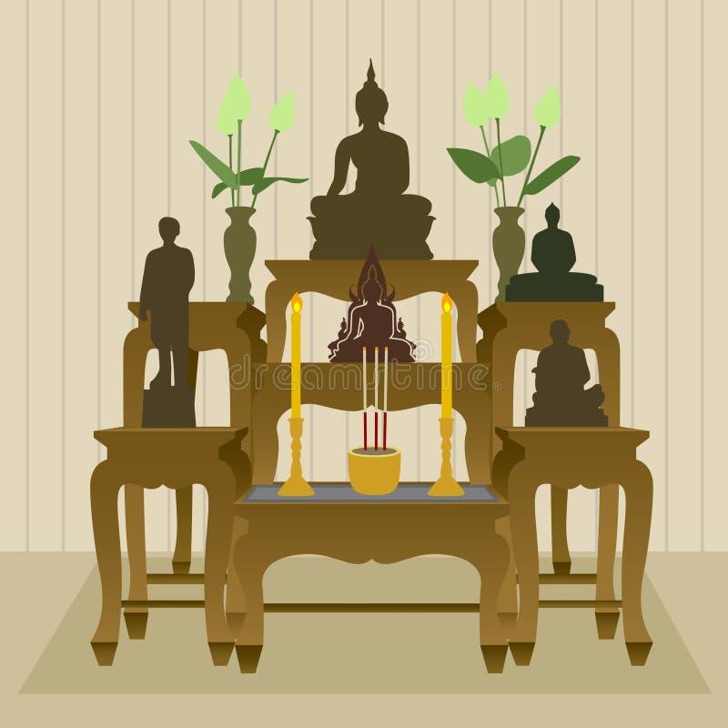 Ταϊλανδικό βουδιστικό επιτραπέζιο σύνολο βωμών διανυσματική απεικόνιση