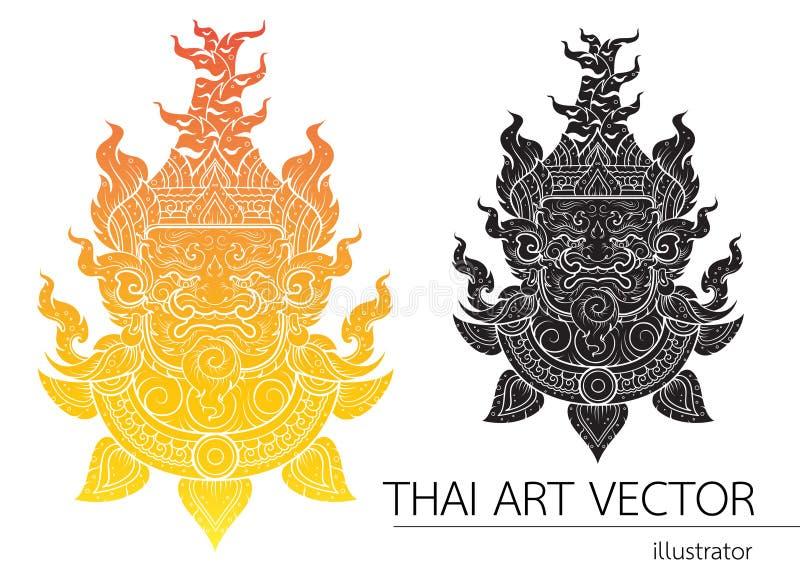 Ταϊλανδικό γιγαντιαίο επικεφαλής σχεδιάγραμμα κτυπήματος περιλήψεων ελεύθερη απεικόνιση δικαιώματος