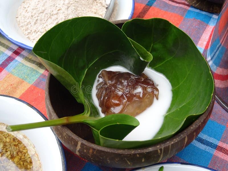 Ταϊλανδικό επιδόρπιο με το φύλλο φύσης και το κοχύλι καρύδων στοκ φωτογραφία