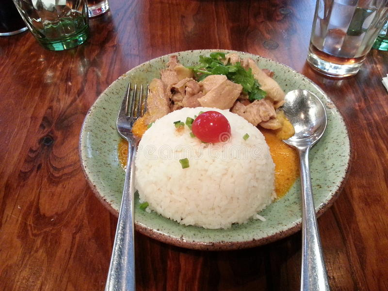 Ταϊλανδικό κάρρυ κοτόπουλου με το ταϊλανδικό ρύζι, ταϊλανδικά τρόφιμα, Ταϊλάνδη στοκ εικόνα