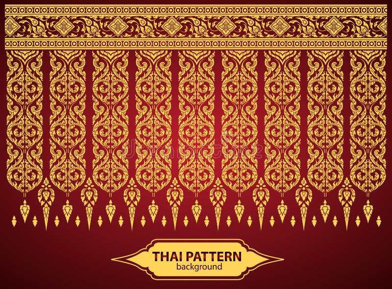 Ταϊλανδικό τέχνης διάνυσμα σχεδίων τέχνης υποβάθρου ταϊλανδικό διανυσματική απεικόνιση