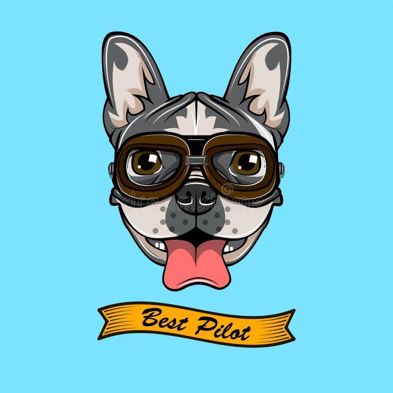 ταύρων Σκυλί πειραματικό Μπουλντόγκ wearind στα πειραματικά γυαλιά του s επίσης corel σύρετε το διάνυσμα απεικόνισης ελεύθερη απεικόνιση δικαιώματος