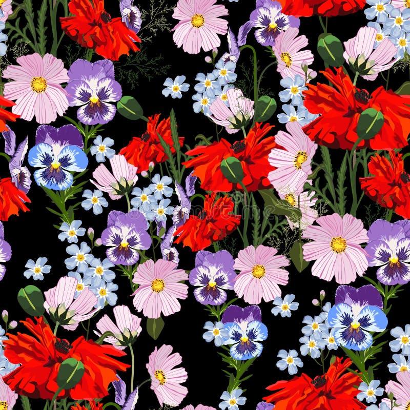 Τα άγρια ρόδινα, ιώδη λουλούδια θερινής άνοιξης, η κόκκινη παπαρούνα και μπλε forget-me-not ανθίζουν Μαύρη ανασκόπηση ελεύθερη απεικόνιση δικαιώματος