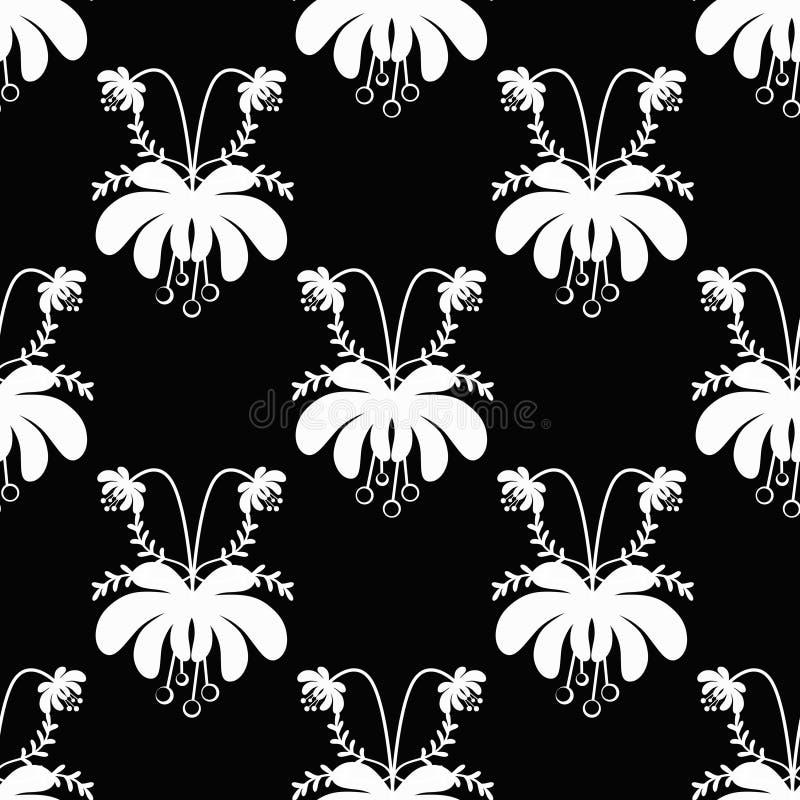 Τα άνευ ραφής άσπρα κινούμενα σχέδια ανθίζουν το σχέδιο στο μαύρο υπόβαθρο διανυσματική απεικόνιση
