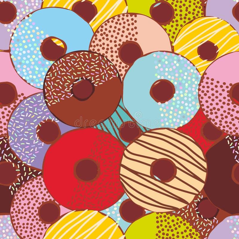 Τα άνευ ραφής γλυκά donuts σχεδίων θέτουν με την τήξη και sprinkls, χρώματα κρητιδογραφιών στο υπόβαθρο σοκολάτας διάνυσμα απεικόνιση αποθεμάτων