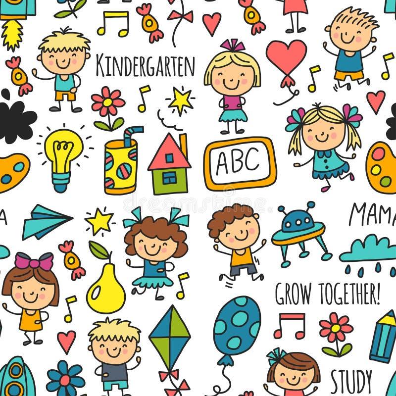 Τα άνευ ραφής παιδιά σχεδίων που σύρουν τους ευτυχείς μαθητές παιδικών σταθμών παίζουν την απεικόνιση για τα προσχολικά παιδιά βρ απεικόνιση αποθεμάτων